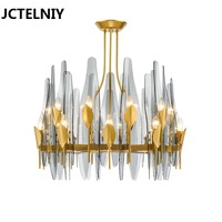 New Nordic creative metallic blue dovetail glass chandelier luxury villa living room dining room chandelier