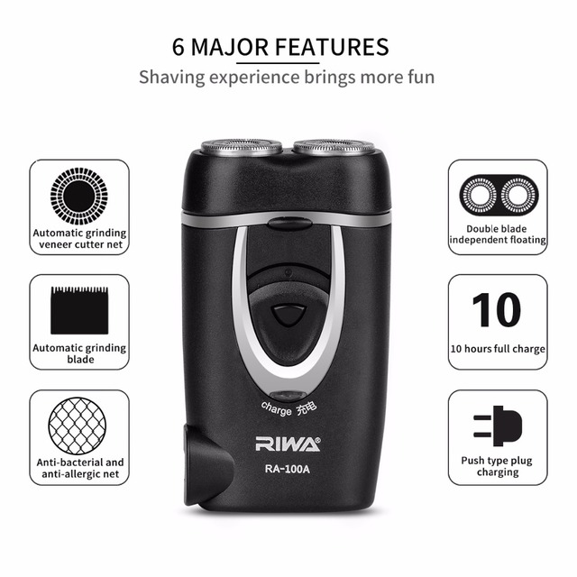 Independent Dual-Blade Portable Rechargeable Electric Shaver