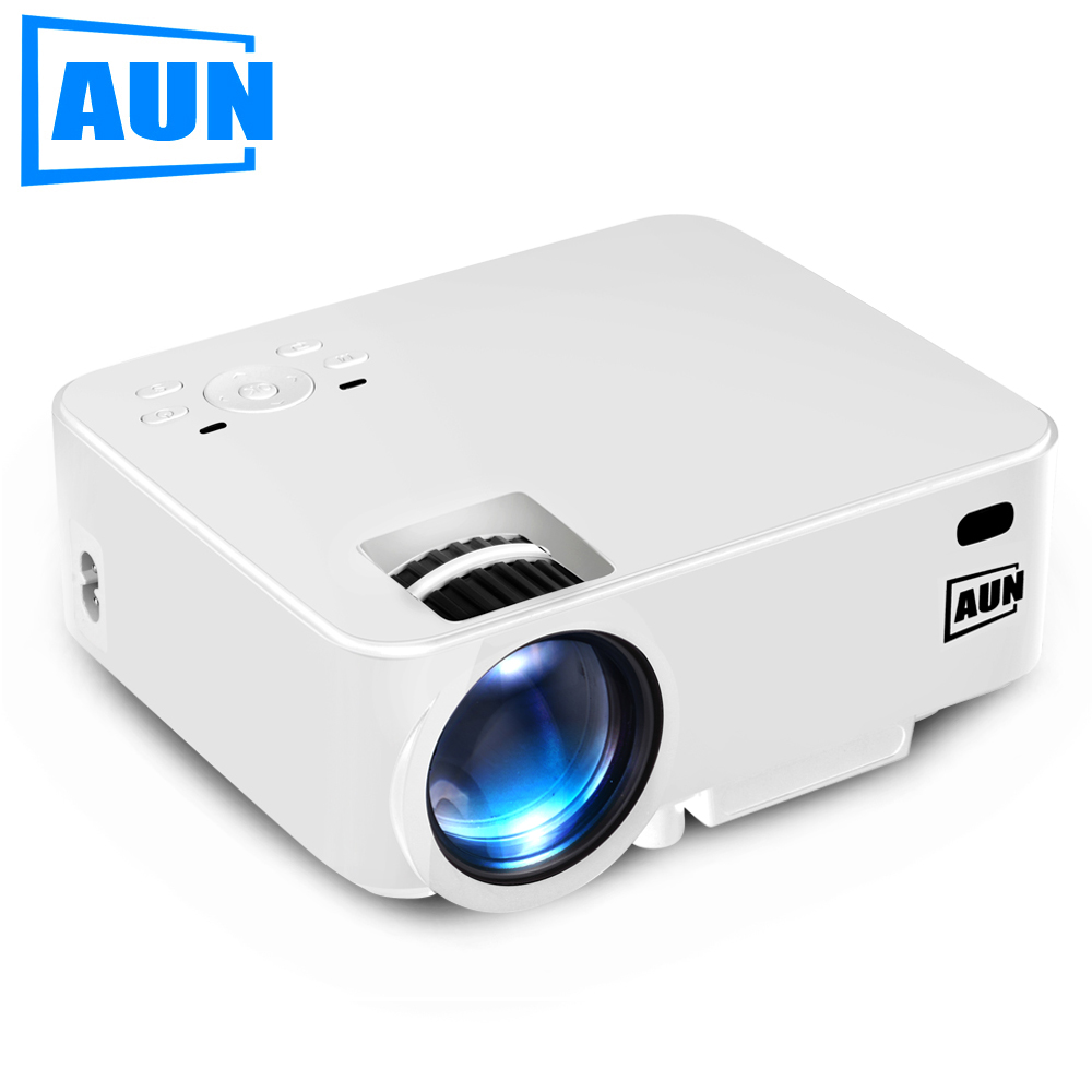 AUN Projector AM200 Series 1500 Lumens ( Optional Android TV BOX / Android Projector Support KODI AC3 ) LED TV MINI Beamer White