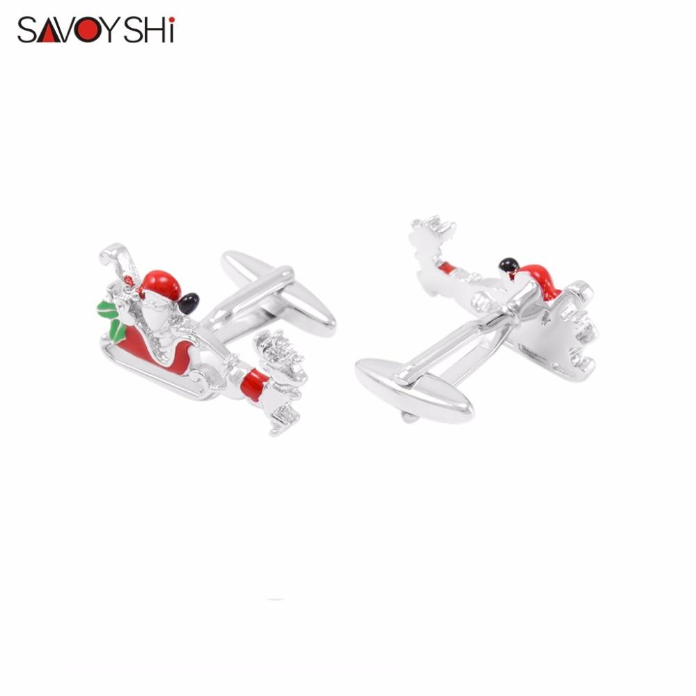 SAVOYSHI Brand Jewelry Fashion Santa Claus Cufflinks for Mens Cuff Buttons Novelty High Quality Enamel Cufflinks Christmas Gift