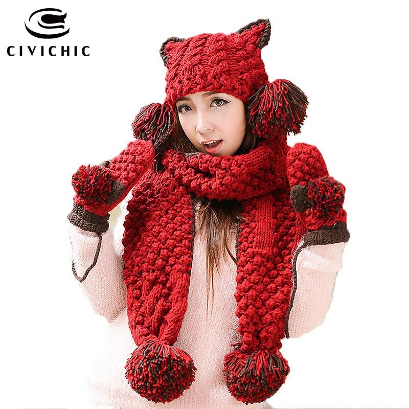 CIVICHIC Girl Warm Set Cute Cat Ear Headwear Knit Hat Glove Scarf 3 Pcs Pompon Beanies Crochet Shawl Thicken Velvet Mitten SH191