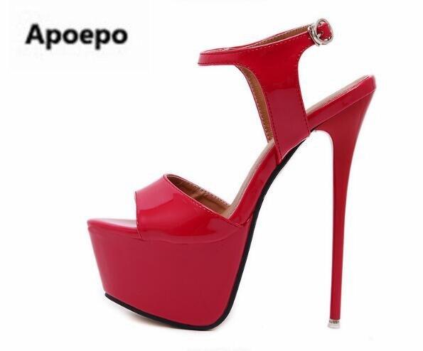 Apoepo brand summer women shoes gladiator platform shoes women stiletto sexy high heels sandals women peep toe Patent leather luxury brand shoes women peep toe