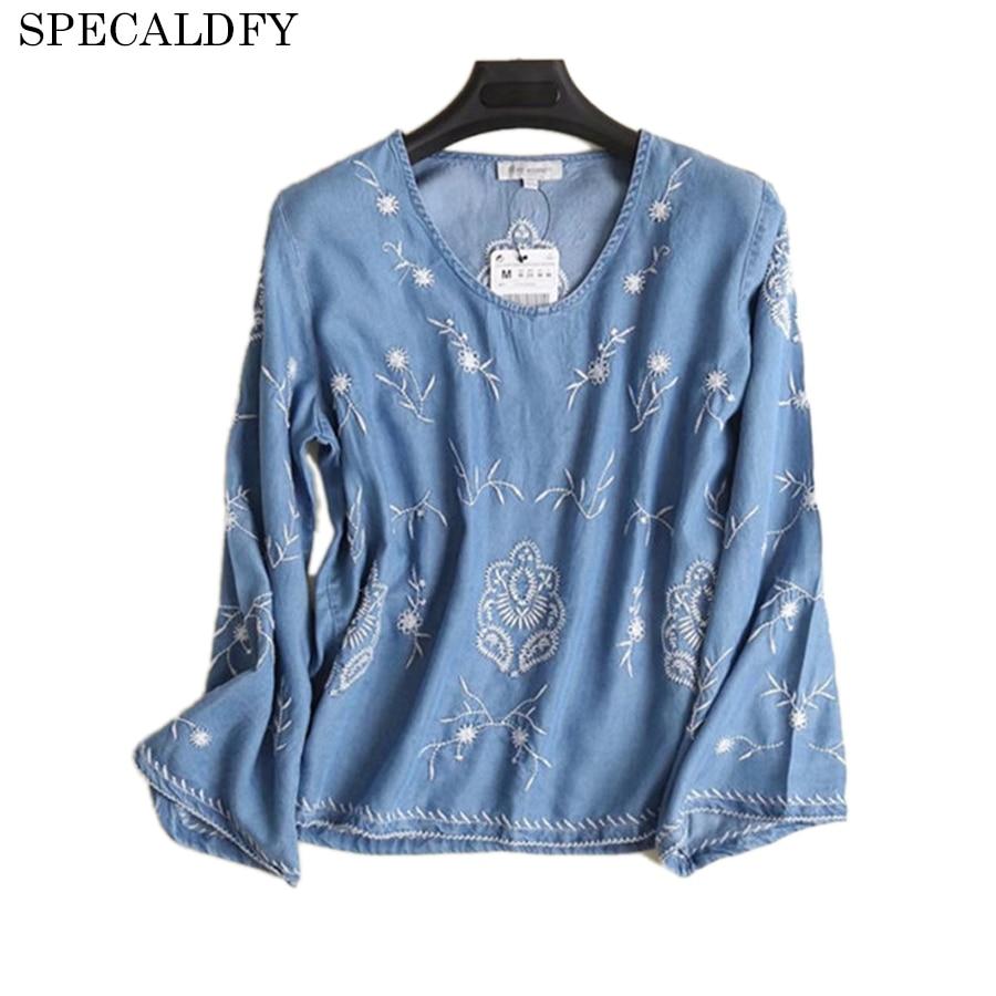Chemisier Blusa Jeans Broderie Vintage Chemise Deep Denim Femmes Blue Printemps Mode 2018 Nouveau Décontractée Dames Tops Feminina qpzp7H