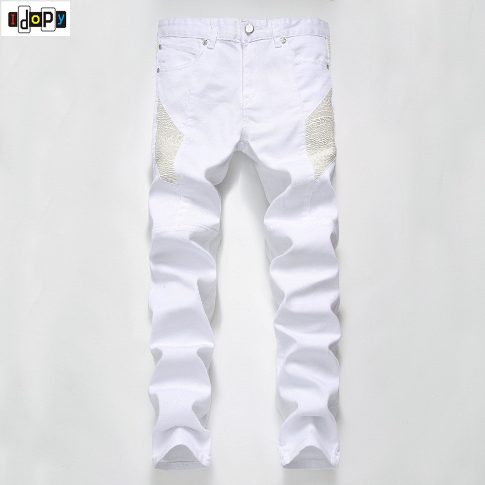 New Mens Designer Clothes White Biker Jeans Pleated Motorcycle Slim Fit Stretchy Hip Hop High Street Denim Pants For Male накидной ключ 18x19мм king tony 19701819