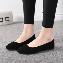 Plus Size 35-43 Women Flats Slip on Flat Shoes Candy Color Woman Boat Shoes Black Loafers Faux Suede Ladies Ballet Flats 6952