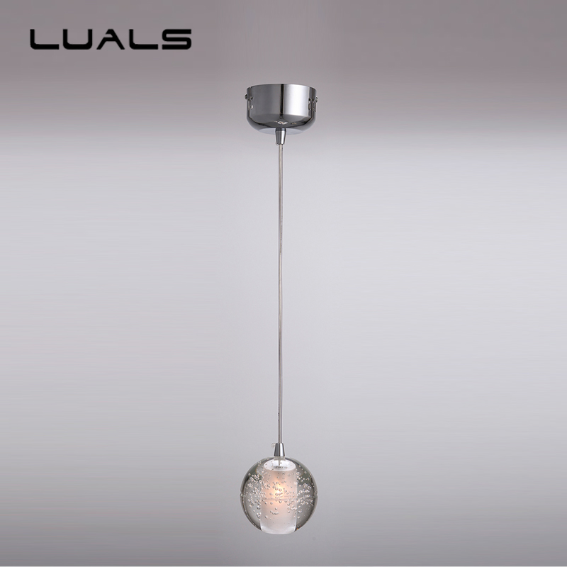 Modern Led Pendant Lamp Contracted Crystal Ball Pendant Lights Restaurant Coffee Shop Personality Art Deco Lighting egypt imported crystal 8 light pendant lights in ball shape chrome pl1040