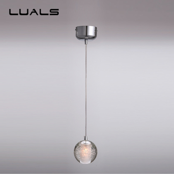 Modern Led Pendant Lamp Contracted Crystal Ball Pendant Lights Restaurant Coffee Shop Personality Art Deco Lighting