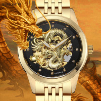 Luxury Brand Dragon Skeleton Automatic Mechanical Watches Men WristWatch Stainless Steel Black Gold Clock Waterproof Men