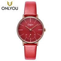 ONLYOU Red Watch Women Quartz Watches Ladies Top Brand Luxury Female Wrist Watch Leather watchband Girl Clock Relogio Feminino