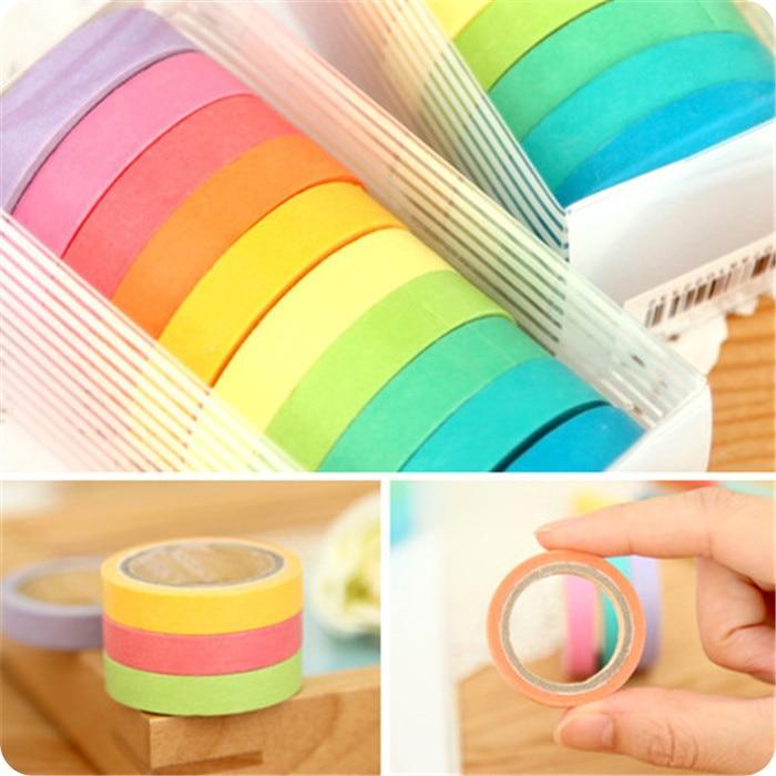 10Pcs/Lot Rainbow Roll DIY Washi Sticky Paper Tape Self Adhesive  Scrapbooking Masking  Colorful Scrapbook  H0089