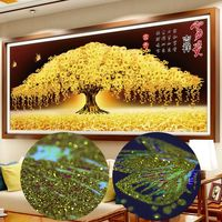 Platinum Diamond Painting Cross Stitch Special Shaped Diamond Embroidery 5d Mosaic Pattern Lucky Tree Wall Sticker