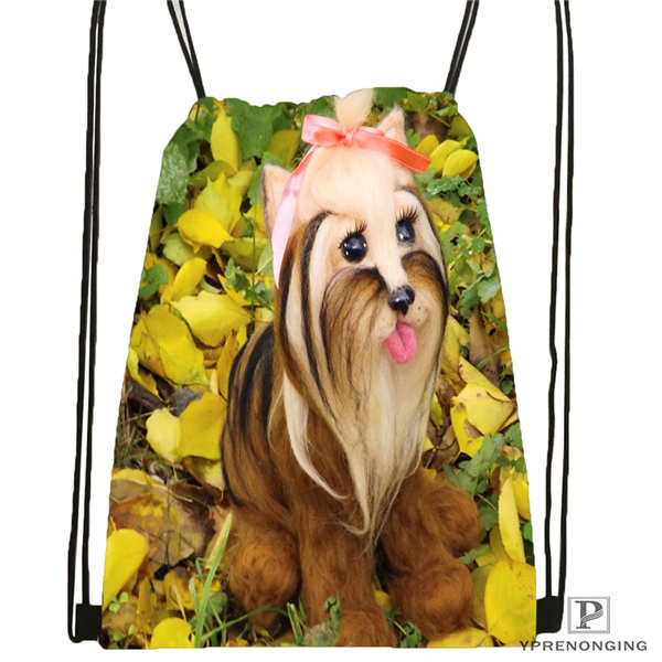 Custom Yorkshire-Terrier-@01-Drawstring Backpack Bag Cute Daypack Kids Satchel (Black Back) 31x40cm#180611-03-115