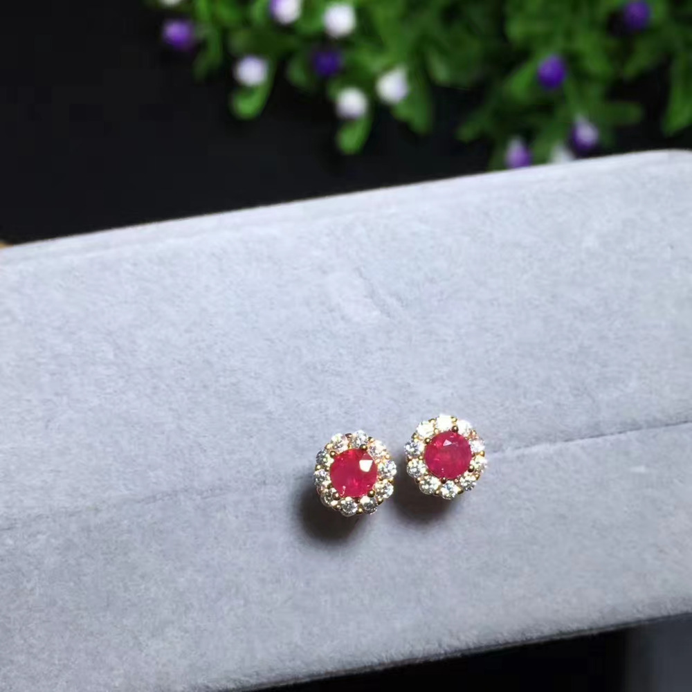 yellow gold diamond drop white pave ruby earrings red