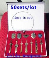 Оптовая продажа 50 компл./лот Легенда о Zelda оружия Комплекты 12 шт. брелки мечи Link щит ожерелье 2 цвета Бесплатная доставка по DHL