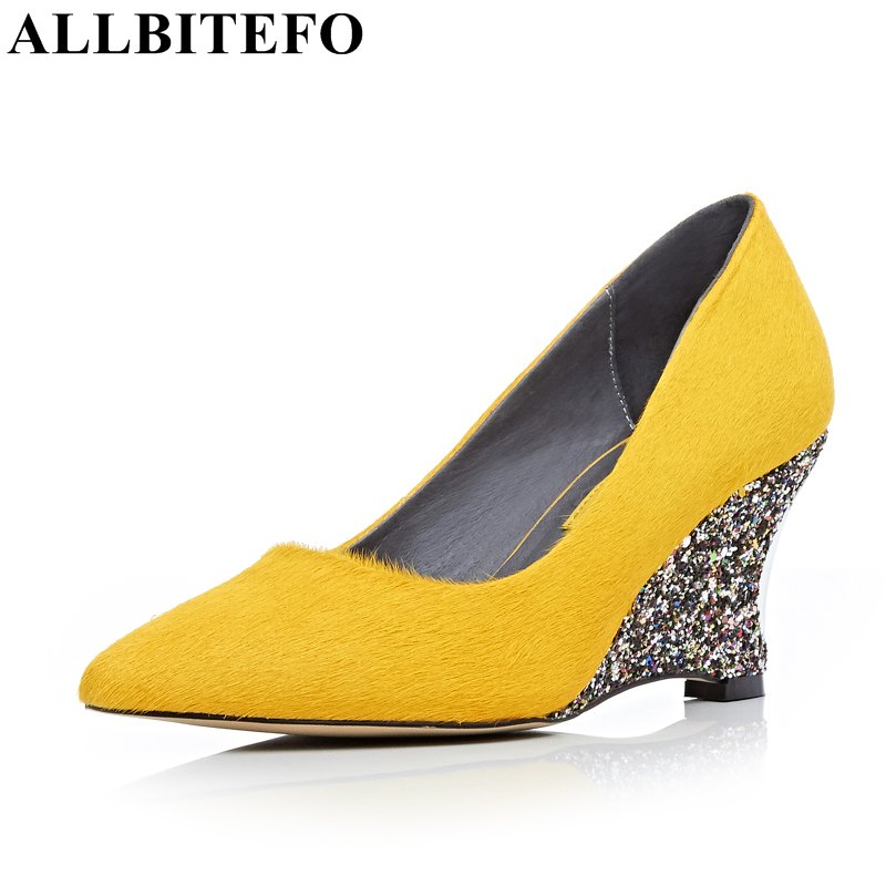 ALLBITEFO fashion sexy pointed toe high heels women pumps genuine leather+Horsehair bling heel spring pumps party shoes woman  allbitefo fashion sexy thin heels pointed toe women pumps full genuine leather platform office ladies shoes high heel shoes