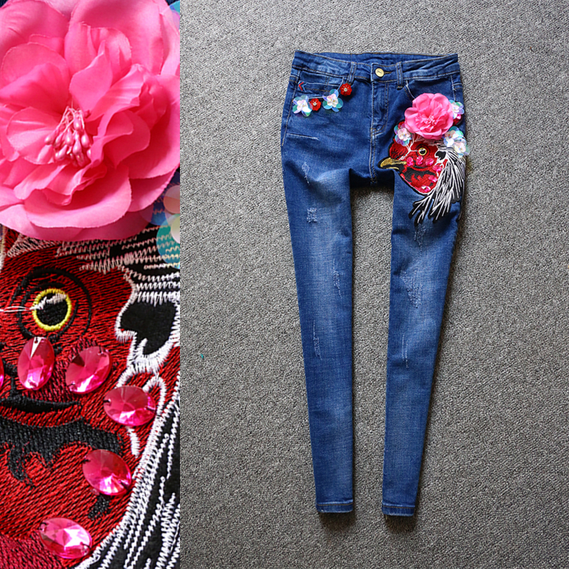 2017 spring women's fashion luxury cartoon embroidery jeans female Korean version of the diamond flower was thin feet pants flower embroidery jeans female blue casual pants capris 2017 spring summer pockets straight jeans women bottom a46 page 9
