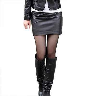 ساخنة جديدة النساء السيدات مثير عالية الخصر Bodycon فو جلدية نظرة ويت الأسود البسيطة تنورة