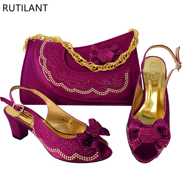 Purple Color African Woman Matching Italian Shoe and Bag Set Decorated with Rhinestone Nigerian Women Wedding Shoes and Bag Set