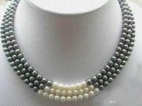 New 3 Rows 7 8MM Black White Natural Pearl Necklace 17 19