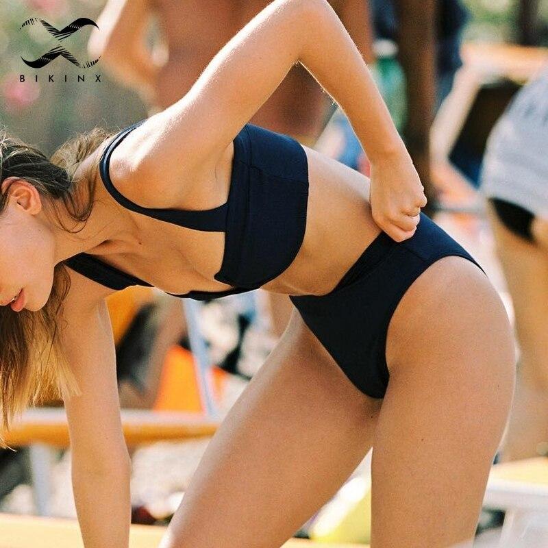 Bikinx Strappy deep v neck bikinis 2019 mujer Push up swimsuit solid high waist swimwear women biquinis Sexy bikini micro brazil 3