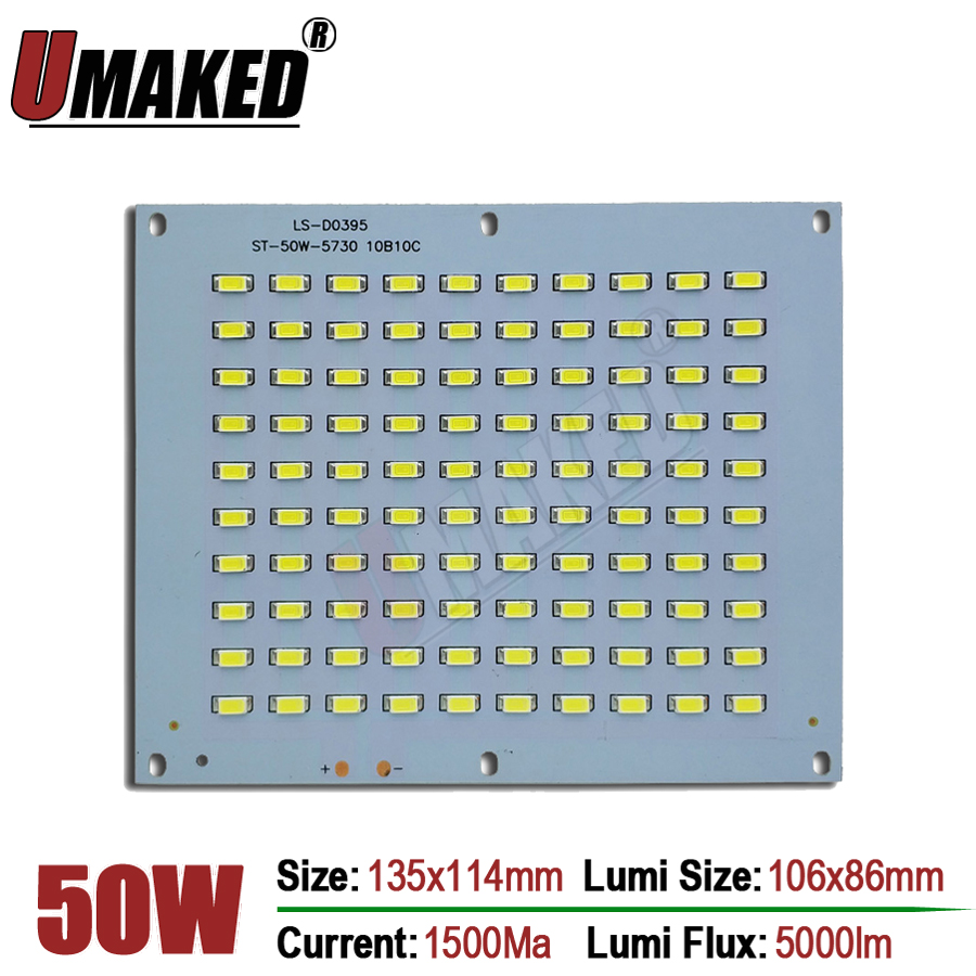 100% Full Power LED Floodling PCB 50W SMD5730, 135x114mm led PCB board,Warm white/ White Aluminum plate for led floodlight 30w 155mm dc12v led pcb input dc 12v needn t driver smd5730 super brightness aluminum lamp plate