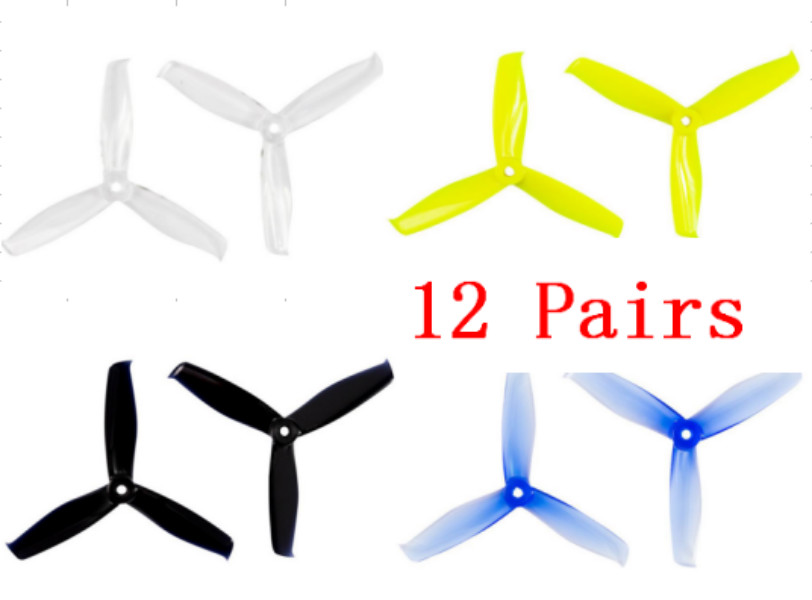 24pcs/12pair Gemfan Hulkie <font><b>5055</b></font> 3 cw ccw Propeller prop compatible 2205 brushless motor for FPV Racing Drone frame image