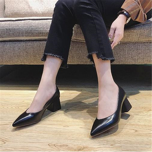 Image 5 - Pumps European style time simple comfortable high heels 2018 new pointed thick heel shoes pu single shoes wild womens shoes
