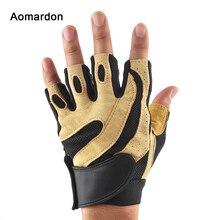 Перчатки для тренажерного зала Гантели тяжелая атлетика Аэробика противоскользящие тренировочные полуперчатки из овчины дышащие перчатки для мужчин и женщин
