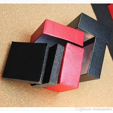 100pcs/lot Black/Red Leather Jewelry Packing Case Square Design Mini Ring Earring Holder HJ103