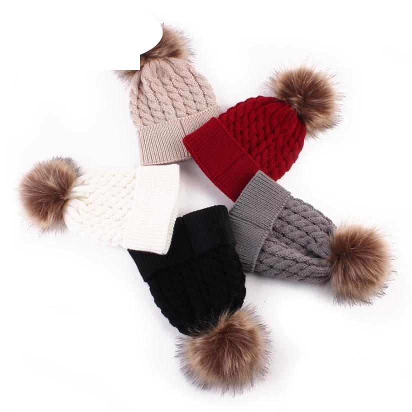 Skullies Beanies Newborn Cute Winter Kids Baby Hats Knitted Pom Pom Hat Wool Hemming Hat  Drop Shipping High Quality S30 skullies beanies newborn cute winter kids baby hats knitted pom pom hat wool hemming hat drop shipping high quality s30