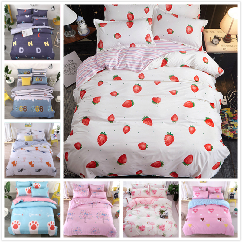 Carrot Pattern Back Side Stripe Duvet Cover Kids Cotton Soft Bedding Set 3/4 pcs Single Twin Full Queen King Size 1.2m 1.5m 1.8m