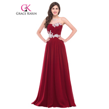 Grace Karin Evening Dress 2017 Strapless Vestidos Lace Appliques Sequin Sweetheart Formal Evening Gowns Long Wedding Party Dress