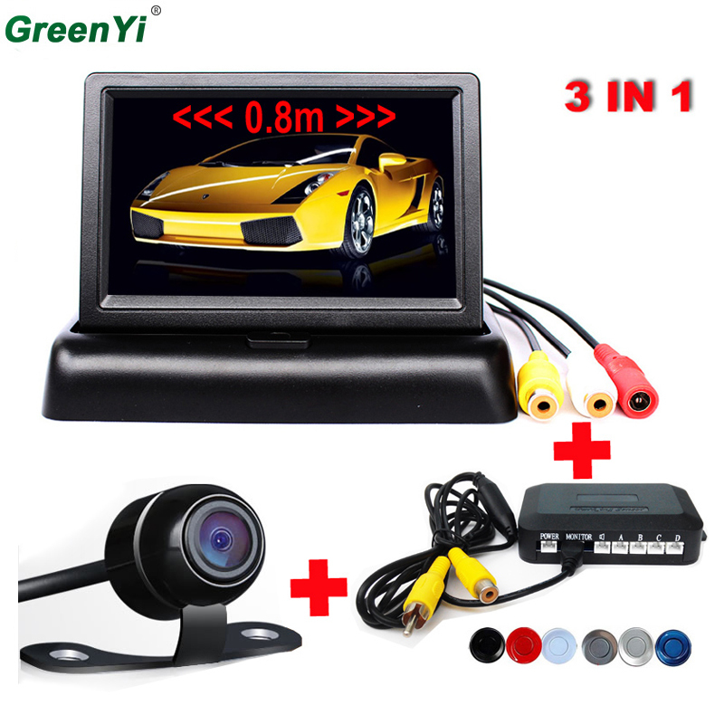 4.3 Inch Video Parking Sensor With HD CCD Rear View Camera, With Parking Sensor System Reverse Back Up Parking Radar