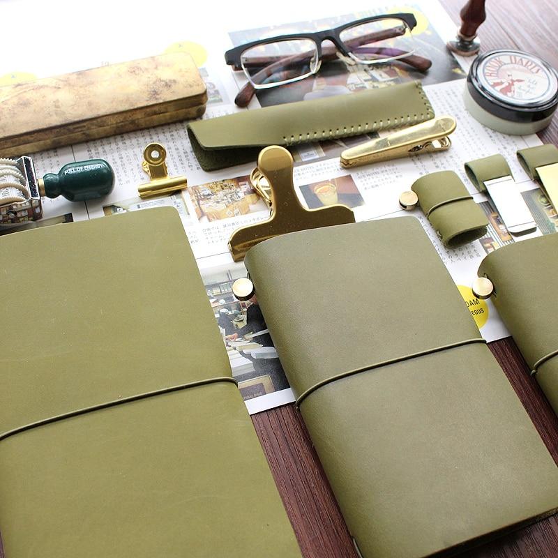 DinThenon Vintage Notebook Jurnal Olive Green Planificator de Piele - Blocnotesuri și registre - Fotografie 2