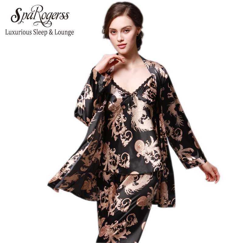SpaRogerss 3 Pcs Robe Pajama Pants Sets 2017 New Fashion Ladies Sleep Lounge Dragon Print Night Shirt Female Pajama Sets TZ013