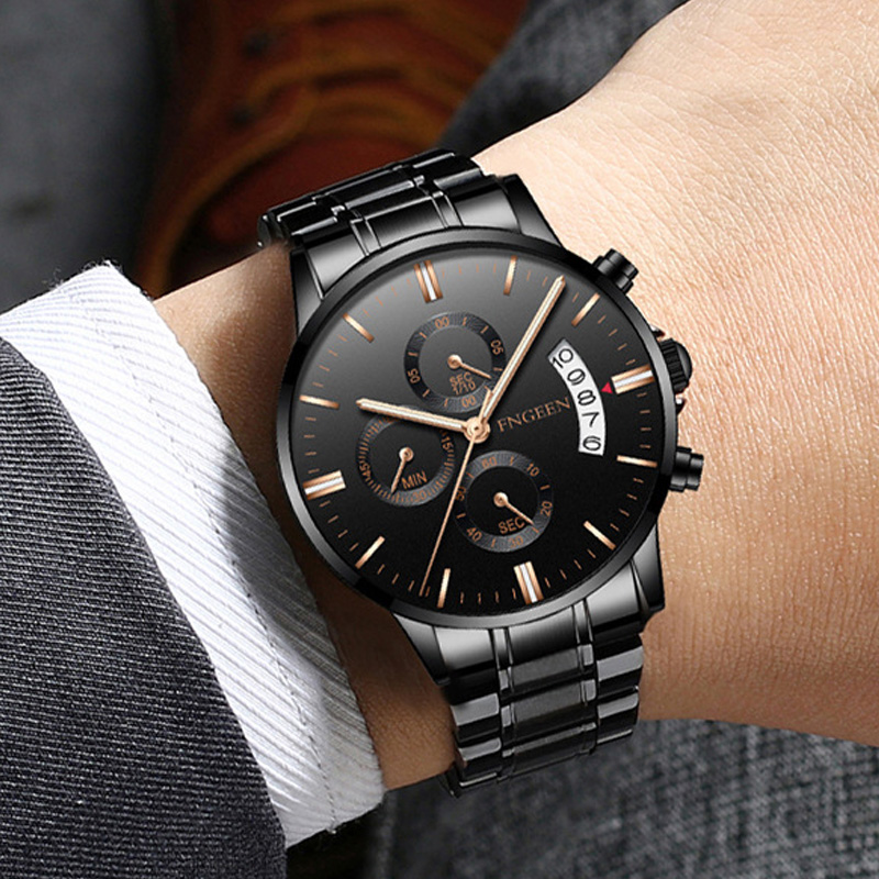 Relogio Masculino FNGEEN Luxury Men Watch Black Stainless Steel Male Clock Quartz Wristwatches erkek kol saati <font><b>5055</b></font> image