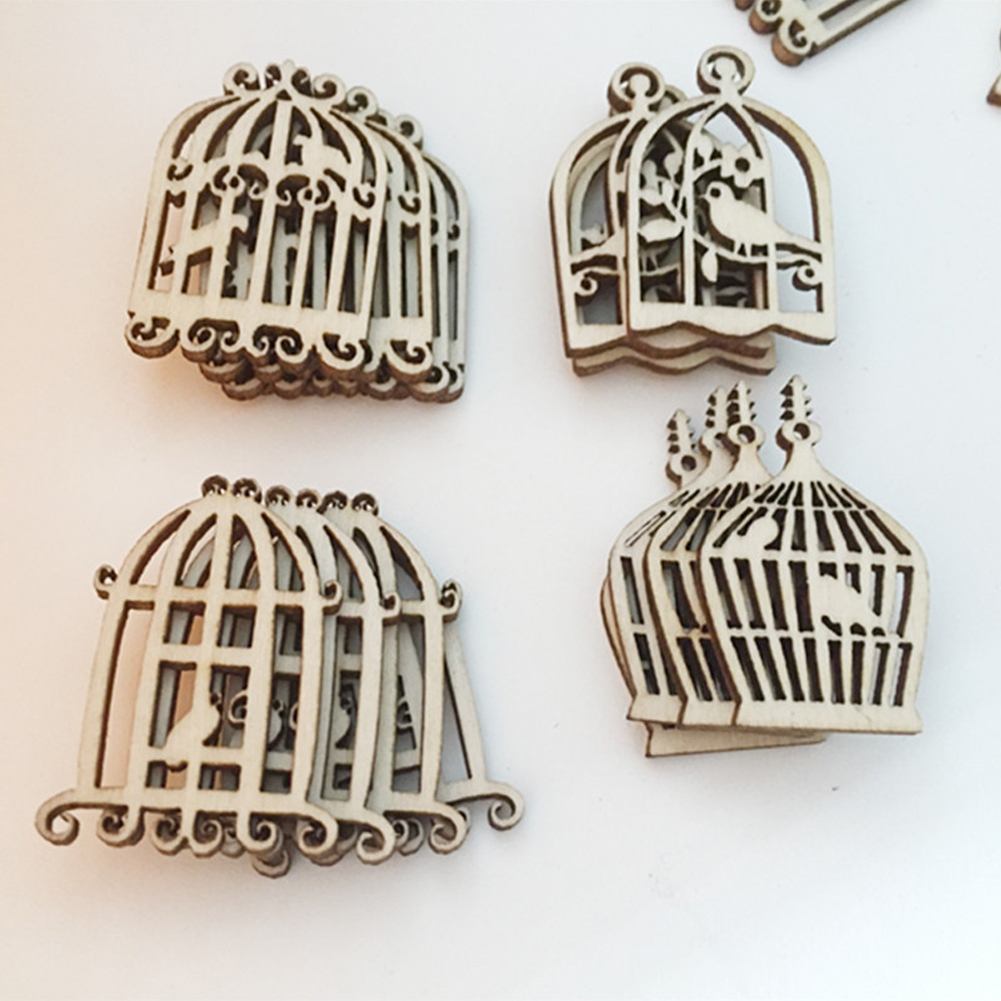 50pcs/pack Bird Cage Kids Photo Ornament Wall Art Slices Album Hanging Pendant DIY Crafts Home Decor Scrapbooking Wooden Party
