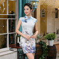 Chinese Women's Traditional Dress Silk Chinese Party Mini Dress Female Cheongsam Flower Pattern Chinese Folk National Qipao 89