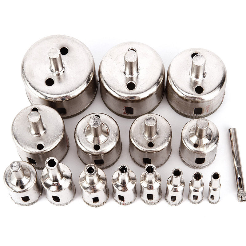 16pcs/set Diamond Coated Hole Saw Silver Marble Drill Bit For Tile Glass Ceramic 6-50mm best price 10pcs 3mm 50mm hole saw drill bit set diamond tile glass marble ceramic cutter power tool set