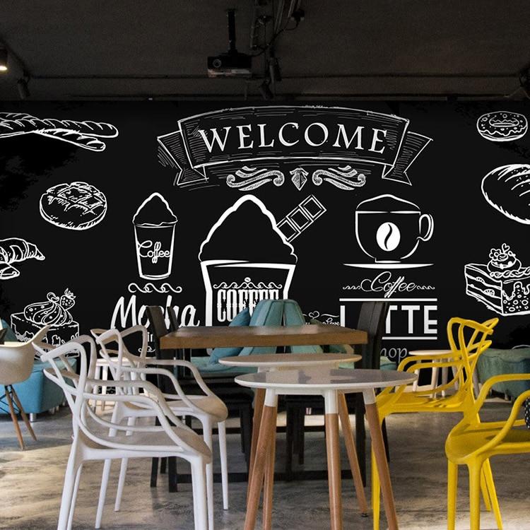 Creative Dilukis dengan Kapur Papan Tulis Wallpaper Coretan Lukisan Dinding  Susu Kue Wallpaper Roti Sarapan Cafe Dekor Dinding Mural 24e425933b