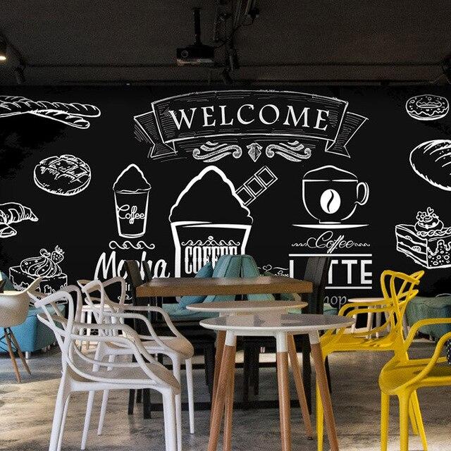 Kreative Hand Bemalt Kreide Tafel Tapete Graffiti Fresken Milch Kuchen Tapete Brot Fruhstuck Cafe Dekor Wandbild