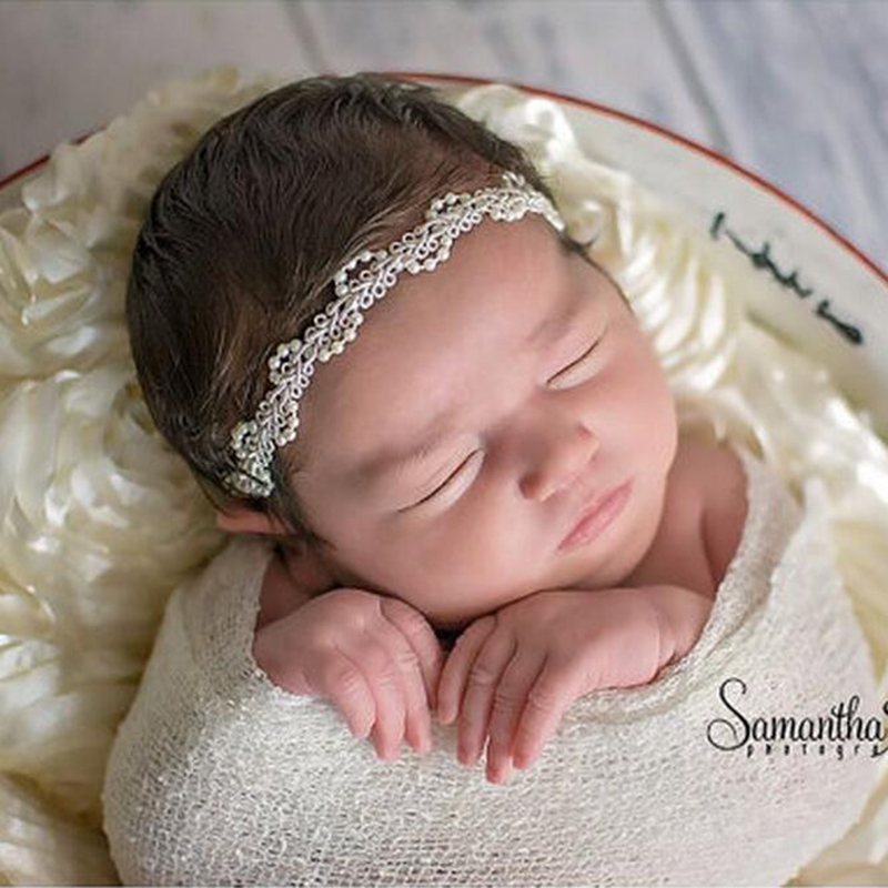 Newborn Baby Girls Headband Photography Props Pearl Flower HeadbandPram Crib Hair Infant Toddler Band Accessories Photo Props