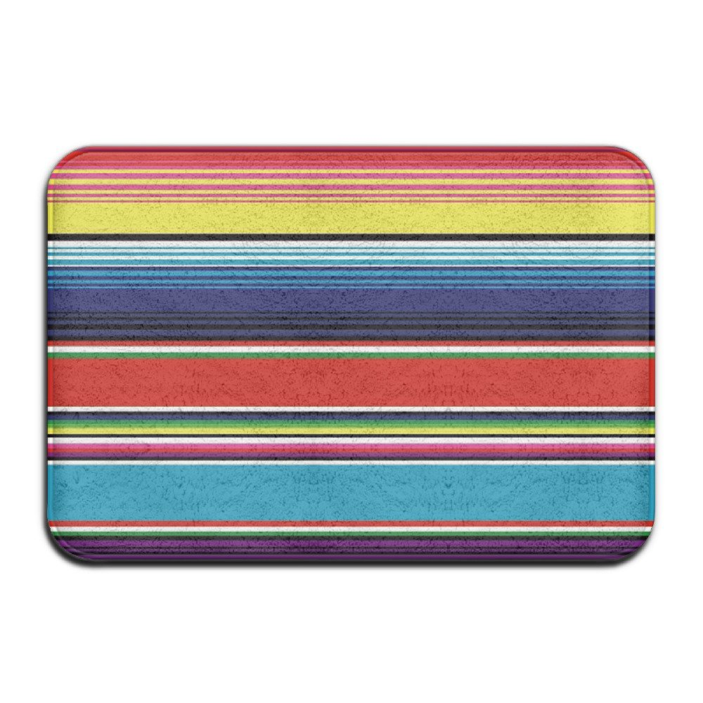 DIYABCD Colorful Mexican Blanket Stripes Doormats Anti