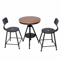 HLC Adjustable Kitchen Dining Table Set Bar Table Set Pub Bistro Table Chair Set