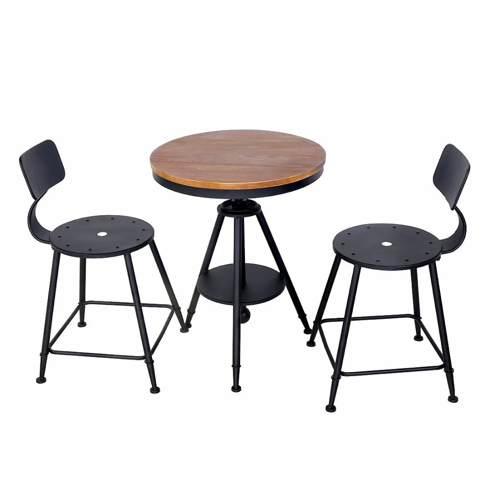 HLC Adjustable table chair set Kitchen Dining Table Set Bar Table Set Pub Bistro restaurant table set kingcamp delux table chair set
