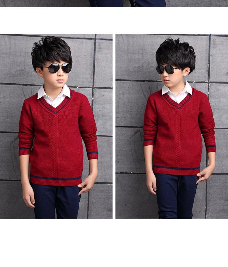 HTB1emPpOXXXXXbmapXXq6xXFXXXD - 2017 Children's sweater Winter new  Keep warm Cashmere boy sweater V-collar Kids for boys Children's clothing Winter clothing