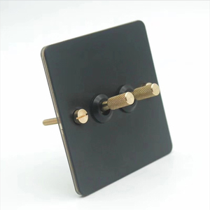 Image 2 - Black loft industrial style light luxury retro copper hand dialing metal panel 86 type lever switch surface mounted brass screw