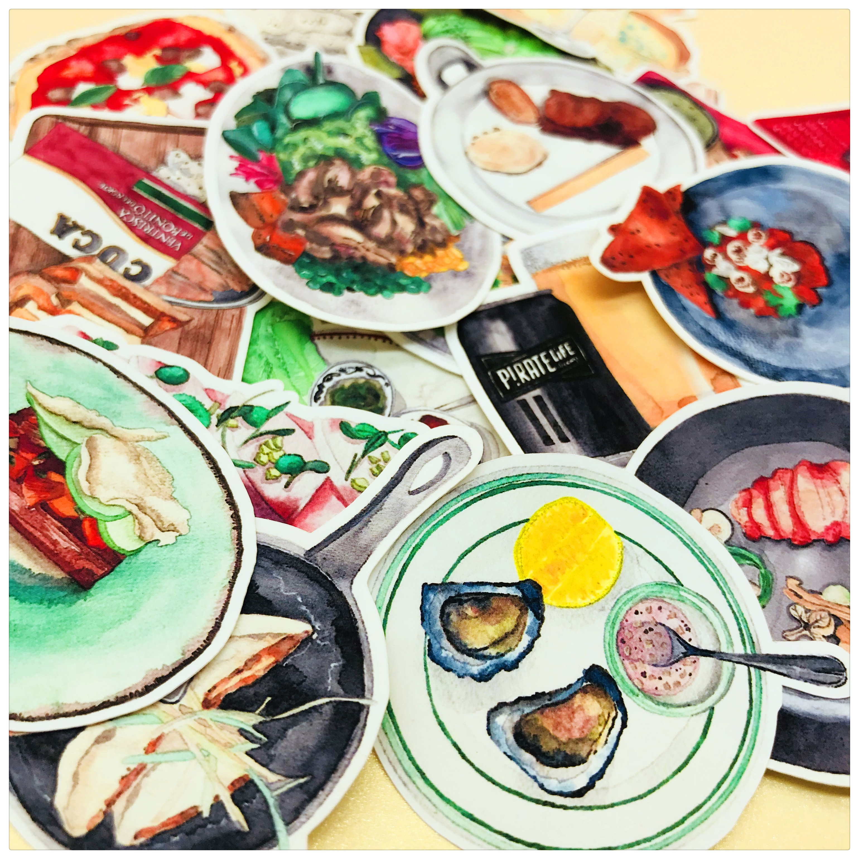 27pcs Western Food Japanese Cuisine Food Decoration Stationery Sticker Diy Diary Scrapbooking Label Sticker Stationery