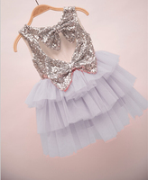 2016 New Kids Baby Hot Sequined Double Bow Back Tutu Cake Dresses, Princess Girls Party Clothing 5 pcs/lot, Wholesale
