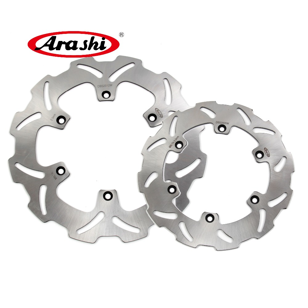 Arashi 1 Set CNC Front & Rear Brake Disc Brake  Rotors For Suzuki DRZ400S 2000 2001 2002 2003 2004 2005 2006 2007 2008 2009 pair steel front brake rotors disc braking disks for moto guzzi norge t gtl 850 2007 breva 1100 2005 2007 stelvio 1200 2008 2009